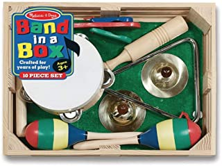 Melissa & Doug MND488 Band-in-a-Box Clap! Clang! Tap! Musical Instruments (Various Instruments, Wooden Storage Crate, 10-P...