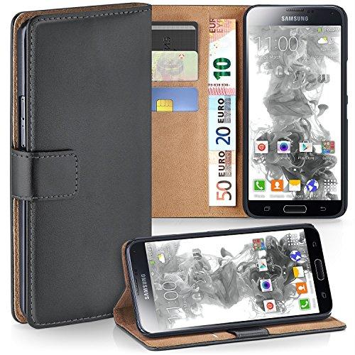 MoEx Premium Book-Case Handytasche kompatibel mit Samsung Galaxy S5 Mini | Handyhülle mit Kartenfach und Ständer - 360 Grad Schutz Handy Tasche, Dunkel-Grau