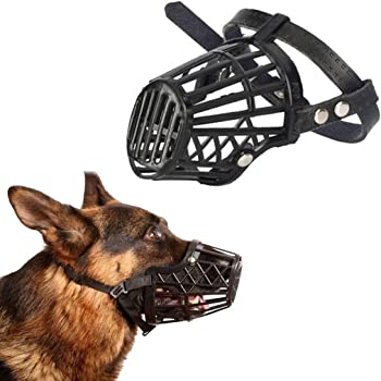 Sage Square Adjustable Strap Muzzle Cum Mouth Cover Cum Basket Cage Cum Pet Safety Collar for Anti Biting Dog (Black) (Extra Small)