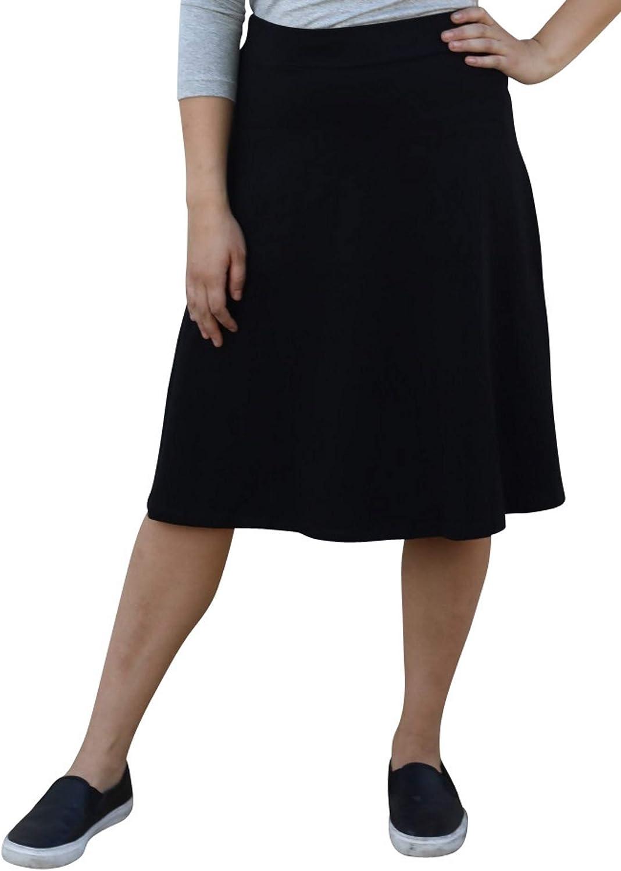 Kosher Casual Women's Modest Knee-Length A-Line Lightweight Cotton Spandex Skirt