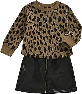 أطقم تنورة ملابس الخريف للأطفال الصغار مع قميص علوي محاك + تنورة قصيرة قصيرة أزياء الأطفال 12M-6T