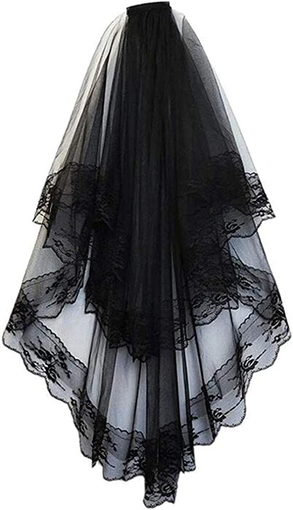 Xuqikai Ladies New Halloween Veil Bride Wedding Dress Accessories Swiss Soft mesh Double lace lace with Hair Comb Veil