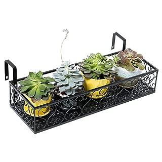 MORITIA Iron Hanging Shelf Basket with Hooks, Balcony Flower Pot Holder Railing Shelf, for Patio Porch or Fence (L, 23.6 x 7.8 x 4.5 inch)