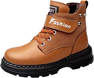 FWEIP Children Boots Fall Winter Leather School Boy Shoes Ankle Calf Snow Boots Plush Warm Waterproof Kids Martin Boots