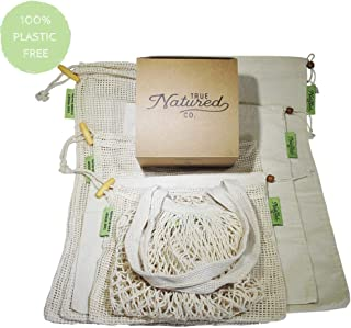 Reusable Produce Bags for Grocery Shopping - (7) Zero Waste Washable Cotton Bulk Food & Mesh Produce Bags w/Drawstring