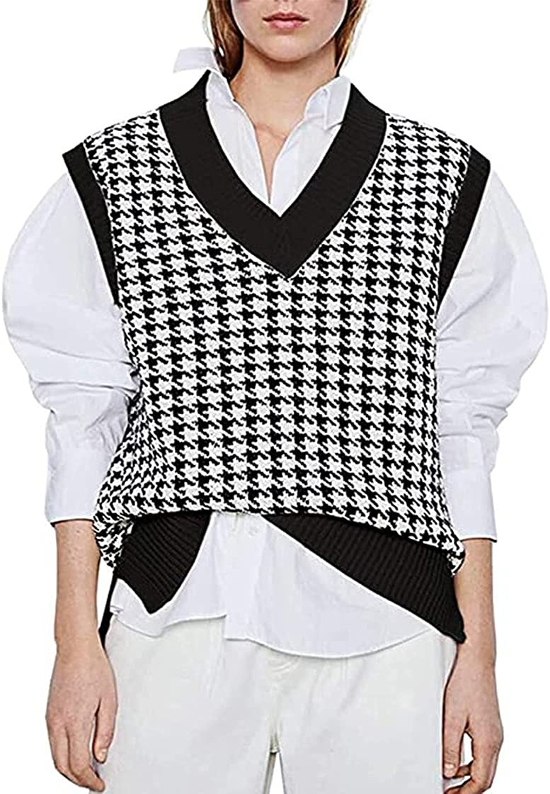 Alilyol Knitted Sweater Vest for Women Casual Oversized Geometric V Neck Knit Loose Pullover Sweaters