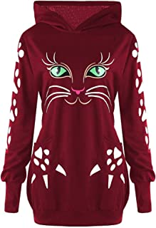 〓COOlCCI〓Women's Casual Regular Fit Cat Print Hoodie Long Sleeve Fashion Hoodies & Sweatshirts Tops Blouse T-Shirts