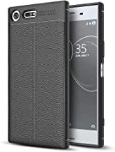 NALIA Leather Look Case Compatible with Sony Xperia XZ Premium, Silicone Ultra-Thin Protective Phone Cover Rubber-Case Soft Skin, Shockproof Slim Bumper Protector Back-Case Shell - Black