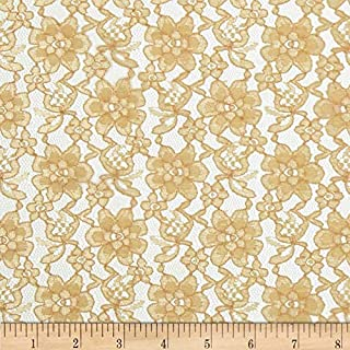 Ben Textiles Raschelle Lace Gold Fabric By The Yard