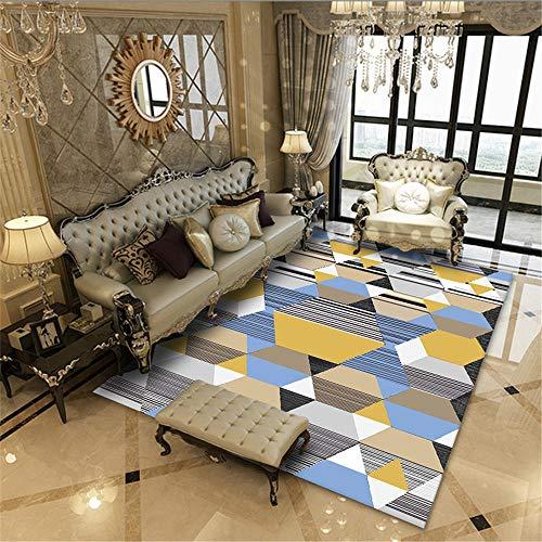 AU-SHTANG alfombras Dormitorio pie de Cama Alfombra de diseño de patrón Abstracto geométrico Amarillo, Azul Alfombra cómoda Lavable Moderna Elegante Alfombra habitacion Moderna -Amarillo_Los 60x90cm