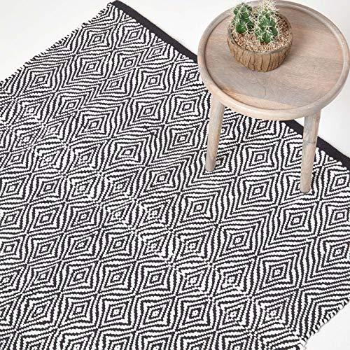 Homescapes Teppich Trance, handgewebt aus Papierkordel, 160 x 230 cm, Flickenteppich mit geometrischem Muster, schwarz-weiß