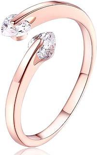 Valentine Gift by Karatcart Rose GoldPlated Heart Cut Elegant Austrian Crystal Adjustable Ring for Women