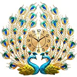 Large Peacock Wall Clock 27.6 inch Non-Ticking Silent Crystal Creative Personality Modern Art Decorative Wall Clocks for Living Room Decor (Yellow)