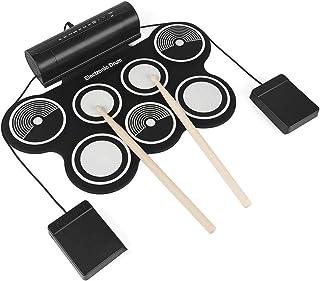 JMFHCD Profesional Tambor Electrónica, Rolling up 7 Almohadillas Eléctrica Drum Kit de Instrumentos USB Alimentado con Pedales Baquetas para Principiantes Niños Adulto Regalo