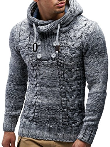 Leif Nelson LN20227 Men's Knitted Pullover,Grey,US-S / EU-M