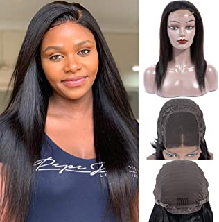 Brazilian Virgin Straight Human Hair 4X4 Lace Frontal Wigs 100% Unprocessed Remy Human Hair Natural Color (24