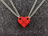 BrickCrafts Basic BFF His/Hers Half-Heart Pendant Necklaces (Set of 2)