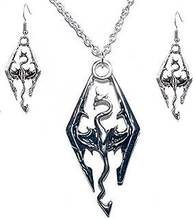 New Horizons Production The Elder Scrolls Skyrim Dragon Logo Pendant Necklace W/ Earrings