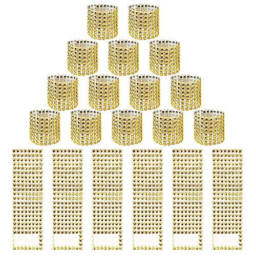 HANGNUO 120 PCS Serviettenring Gold Strass Serviette Ringe für Hochzeit Empfang Party Tischdekoration - Funkelnde Bögen für Servietten, Stuhl Schärpe, Tischdecke, Vorhang