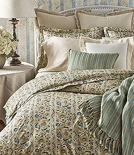 Ralph Lauren Constantina Collection Cassandra Floral Cotton Comforter, King, Teal Cream