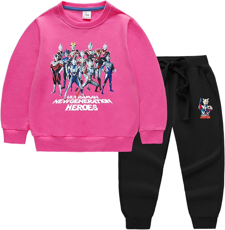 GD-Clothes Kids Boys Sweatshirt Ultraman Long Sleeve Shirt,Crewneck Sweaters Pants Outfits Clothes