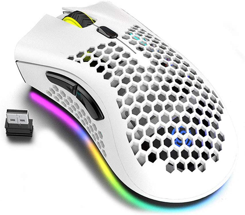 Lightweight Gaming Mouse, Honeycomb Design Rechargeable Wireless Gaming Mouse with USB Receiver RGB Backlight Computer Mouse for Laptop PC (White)