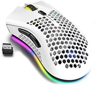 Lightweight Gaming Mouse, Honeycomb Design Rechargeable Wireless Gaming Mouse with USB Receiver RGB Backlight Computer Mou...