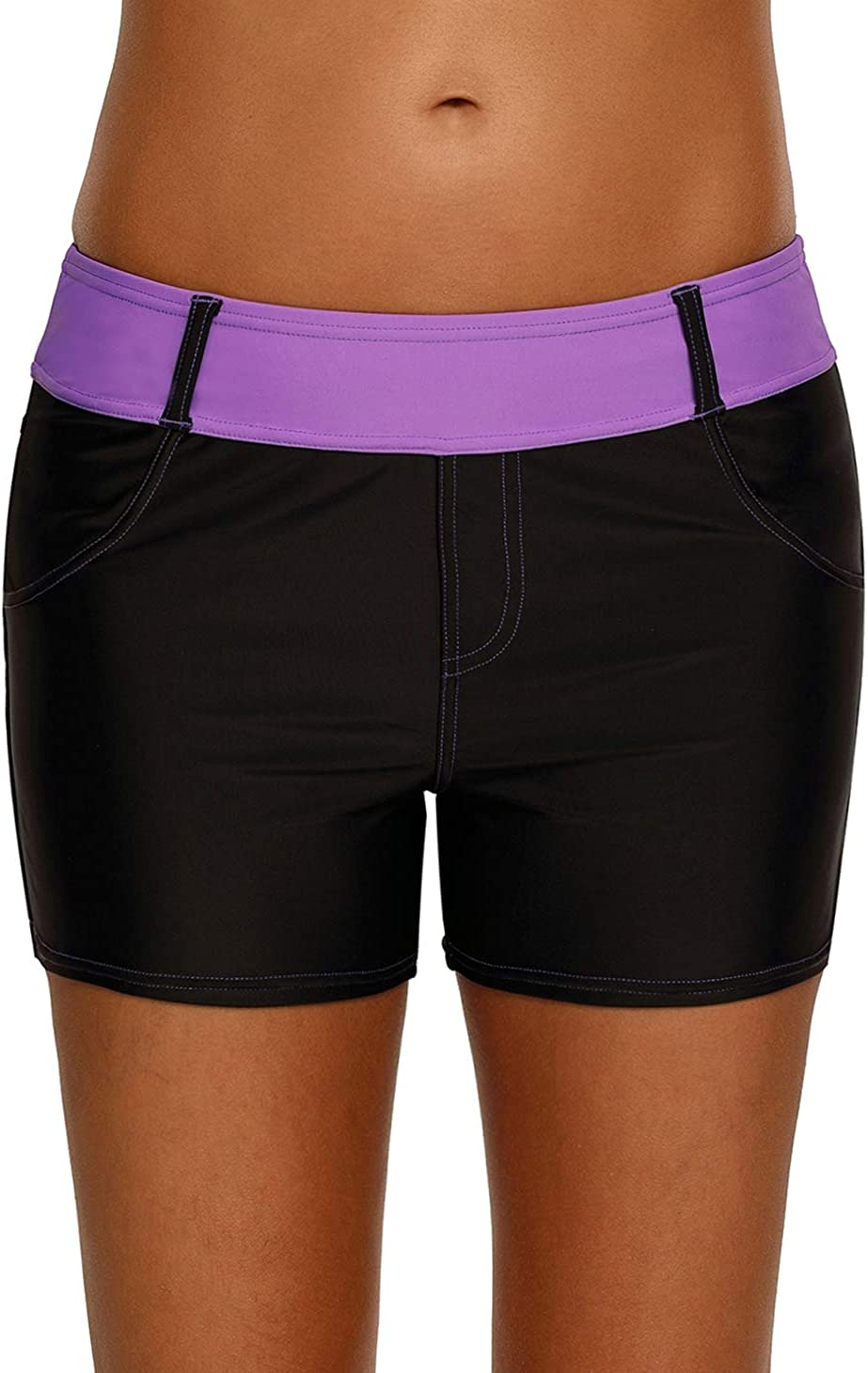 Dearlove Womens Color excellence Block Waistband security Swim Shorts T Trunks Board