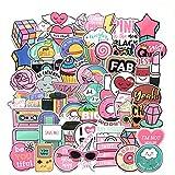WESEEDOO Aufkleber Pack Graffiti Decal Vinyl Sticker Laptop Aufkleber 60 Stücke Rosa Mädchen Doodle Aufkleber Für Nette Hand Konto Cartoon Spielzeug Gitarre Skateboard Fahrrad Gepäck