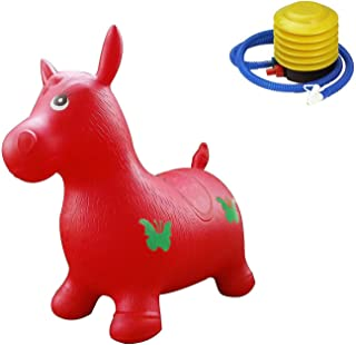 Hopper Horse Benny the Jumping Bull Bouncy Horse Hopper Inflatable Animal Hopper With Pump Red