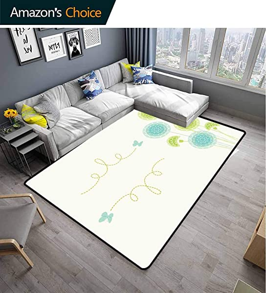 Bigdatastore Dandelion Checkered Anti Static Area Rugs Hand Drawn Bedding Plants With Butterflies Swirl Lines And Circles Fashionable High Class Living Bedroom Rugs 2 X 6