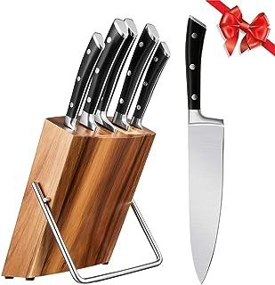 Couteaux de cuisine professionnel, set de couteaux 6 pièces, set de couteaux en acier inoxydable avec support en bois, cou...