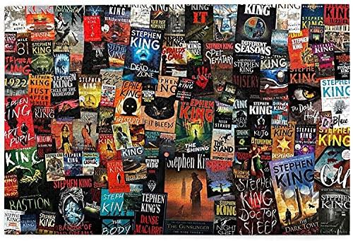 yeeatz - Rompecabezas de 1000 piezas para adultos, colección completa de libros de Stephen King, rompecabezas difícil