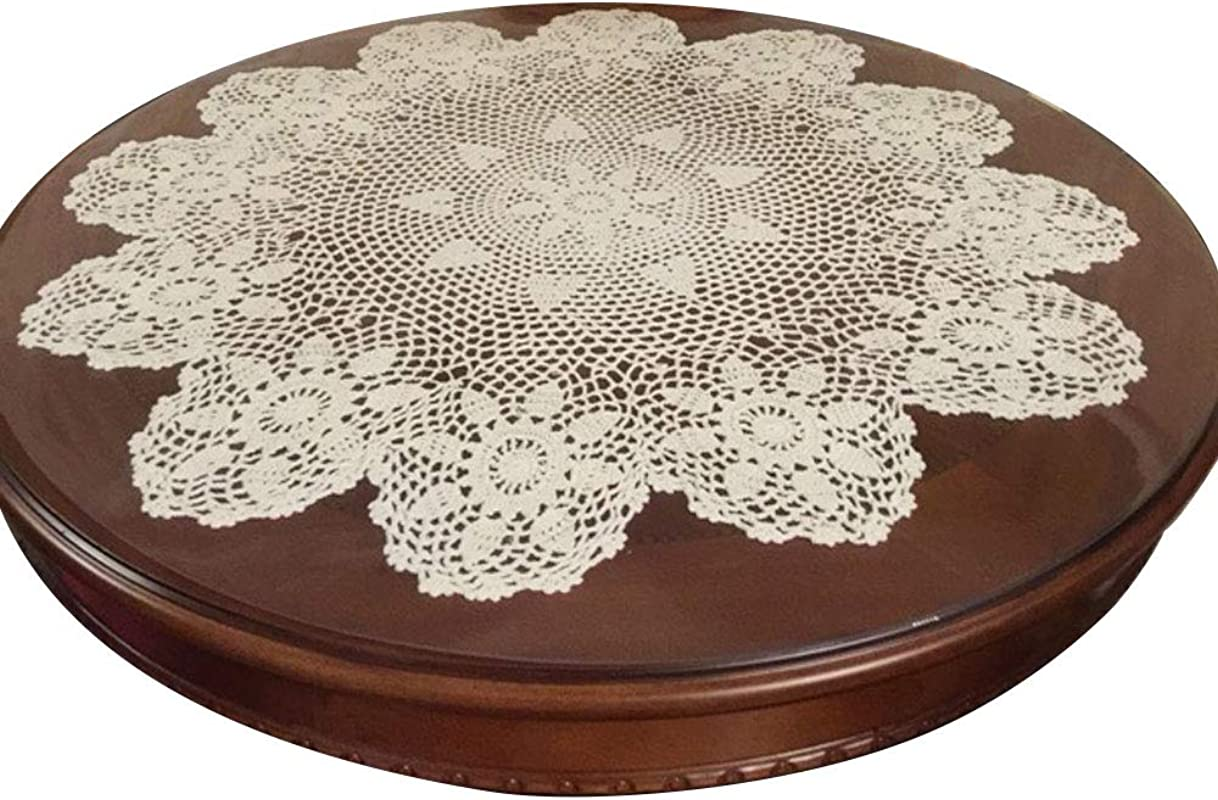 Laivigo New Handmade Crochet Lace Round Table Cloth Doilies Doily 24 Inch Beige