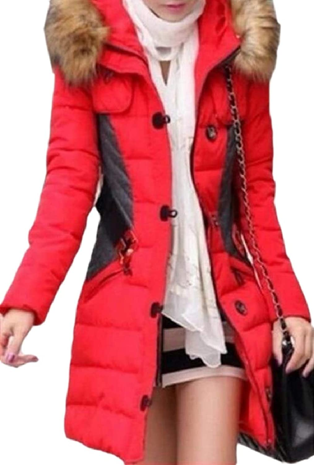 LEISHOP Womens Contrast color Peacoat Quilted Faux Fur Hood Belted Parka Coat