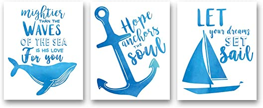 """XUN Watercolor Nautical Inspirational Quote Art Print- Whale Anchor Sailboat Canvas Wall Art-(8""""X10""""X3 Pieces, Unframed)-Perfect for Bathroom Bedroom Decoration"""