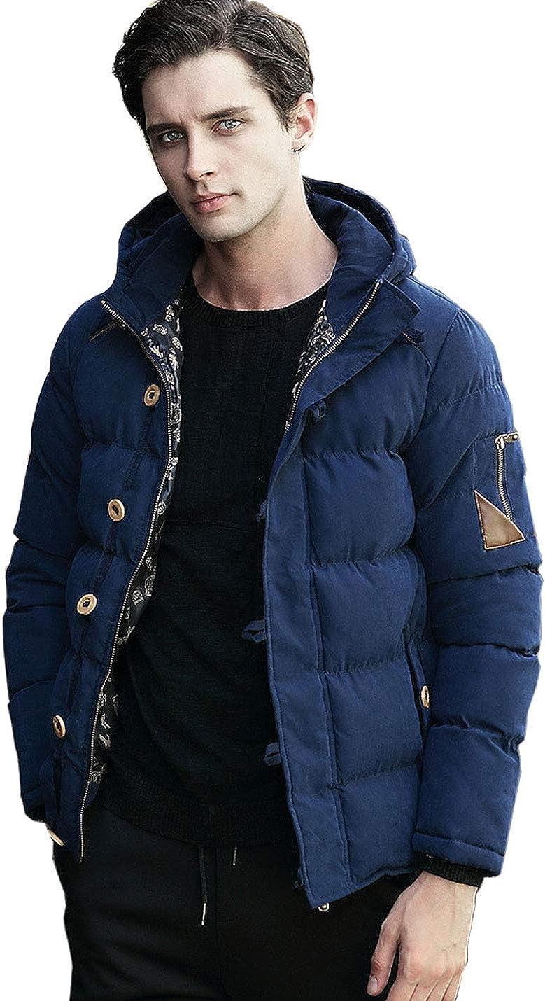 Flygo Men's Winter Hooded Zipper Quilted Jacket Parka Coat