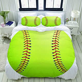 BOKEKANG Duvet Cover Set Yellow Equipment Softball White Green American Ball Base Lightweight Apartment Decorative Theme 3 Piece Bedding Set with 2 Pillow Shams Full/Queen