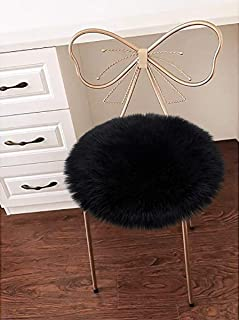 LOCHAS Super Soft Round Seat Cushion Faux Fur Sheepskin Chair Cover Pad Plush Rugs for Living Bedroom Sofa Couch, 18``x18`` Black