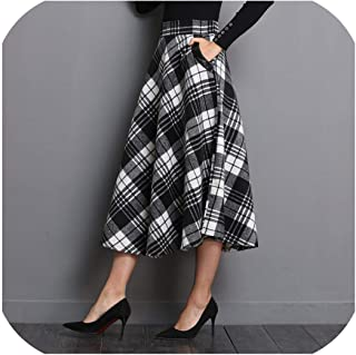 Dai Yao for 11.11 Pro England Style Red Plaid High Waist Midi Skirts Woolen A Line Pleated Winter Women Tartan Skirts