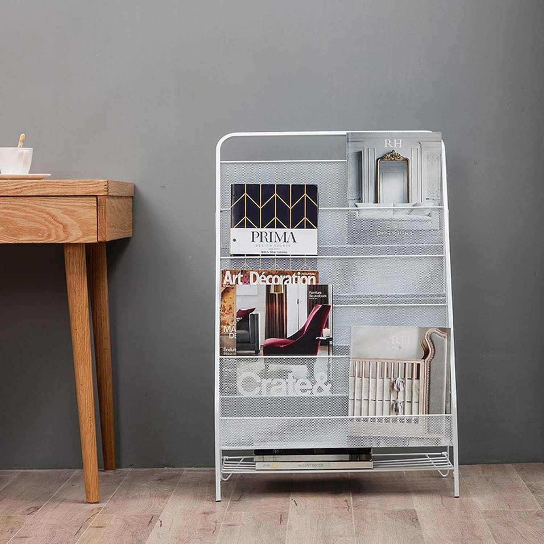 TLMYDD Wrought Iron Bookshelf Metal Bedroom Bedside Office Magazine Rack Newspaper Album Display Stand Storage Shelf 43x23x64cm Bookcase (Size   S)