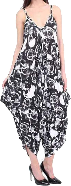 Girly Look Womens Ladies Printed Baggy Harem Thin Strap Cami Leopard Sleeveless Drape Romper Top Dress
