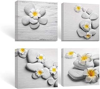 SUMGAR Pinturas para Pared para baño Arte de pared amarillo y gris cuadros de lienzo Piedras zen y pinturas de flores Frangipani 30x30cmx4 Piezas