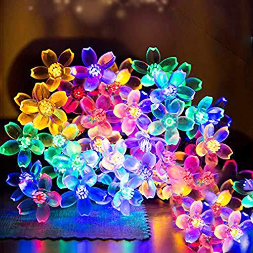 FANSIR Lichterkette Bunt, 4,8m 30 LEDs Lichterkette Solar Außen 8 Modi Wasserdichte Blumen Solar Lichterkette für Garten Balkon Terrasse Weihnachten Hochzeiten Partys(Bunt)