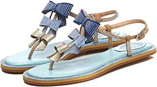 GLJJQMY Women's Leather Roman Sandals Summer Flat with Thong Sandals T with Gradient Bow Sandals Beach Holiday Casual Shoes 34-39 Yards Women's Sandals (Color : Blue, Size : 36)