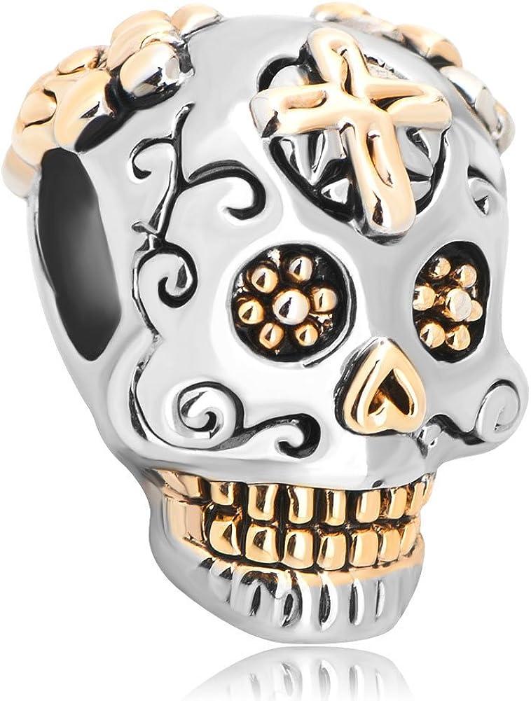 Third Time Charm Dia De Los Muertos Cross Skull Charm Beads for Charm Bracelets