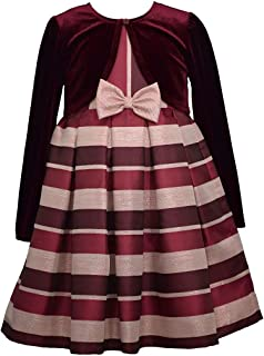 Bonnie Jean Girl's Holiday Christmas Dress with Cardigan - Burgundy Stripe Dress for Baby Toddler Little and Big Girls