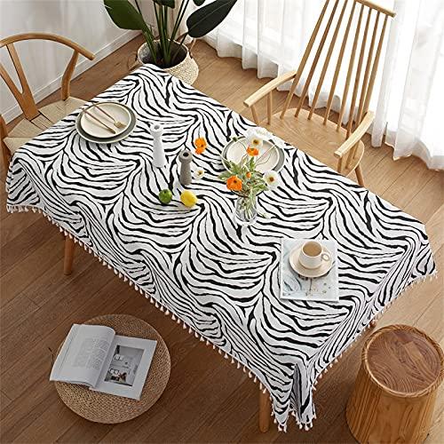 Impresión De Rayas Negras Rectangular Hogar Sala De Estar Cocina Mantel Poliéster Borla Mantel Estampado De Pájaros Mantel Cuadrado Mantel De Café 110x170cm