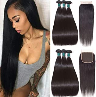 Brazilian Straight Hair Bundles with Closure (18 20 22+16 closure) 3 bundles 8A Brazilian Human Hair Extensions Virgin Hair with Closure Straight Human Hair Bundles with Closure Natural Black Color