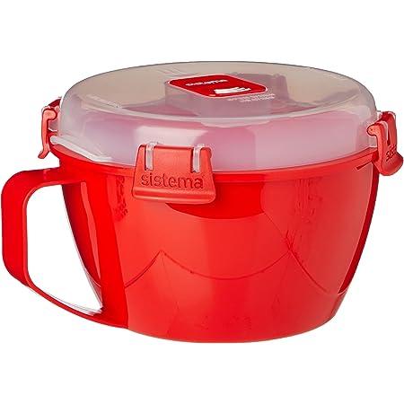 Sistema 1109 Bol à nouilles micro-ondes à clips 940 ml (rouge et transparent)